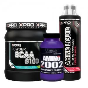 Стак 06 - Xpro BCAA 8100 – 429 g + Xpro AMINO LIQUID – 500 ml / + Ultimate AMINO 2002 – 100 таблетки