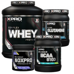 Стак 04 - Xpro WHEY Complex Protein - 2.28kg + Xpro BCAA 8100 - 429 g + Xpro GLUTAMINE – 300 g + Xpro NOXPRO PRE-WORKOUT - 300 g