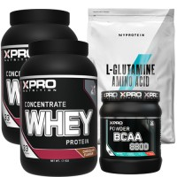 Stack – Xpro WHEY Protein Concentrate - 2 kg (2x1 kg) + Xpro BCAA 8800 - 429 g + MYPROTEIN - L-GLUTAMINE - 500 g