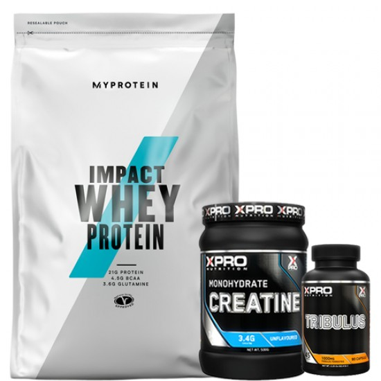 Stack – MYPROTEIN - Impact Whey Protein - 2.5 kg + Xpro - CREATINE Monohydrate - 500 g + Xpro - TRIBULUS - 90 caps