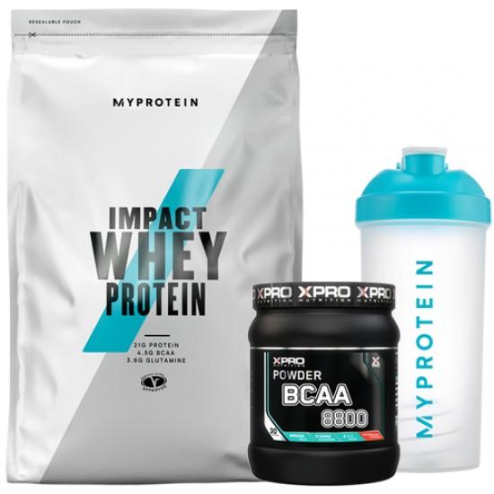 Stack – MYPROTEIN - Impact Whey Protein - 1 kg + Xpro - BCAA 8800 – 429 g + MYPROTEIN - SHAKER Bottle - 600 ml