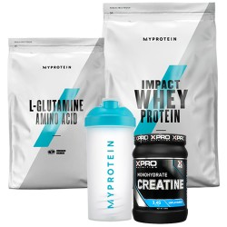 Stack – MYPROTEIN - Impact Whey Protein - 1 kg + Xpro - CREATINE Monohydrate - 500 g + MYPROTEIN - L-GLUTAMINE - 500 g + MYPROTEIN - SHAKER Bottle - 600 ml