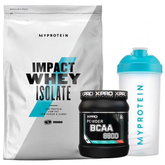 Stack – MYPROTEIN - Impact Whey ISOLATE - 1 kg + Xpro BCAA 8800 - 429 g + MYPROTEIN - SHAKER Bottle - 600 ml
