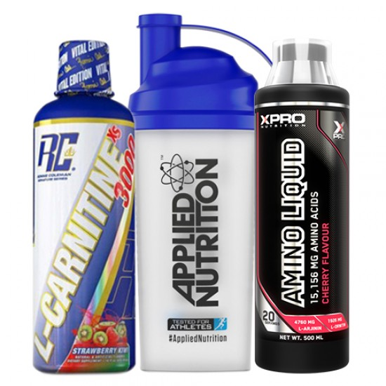 Stack: RCSS - L-CARNITINE XS™ 3000 - 473,28 ml + Xpro - AMINO LIQUID - 500 ml + Applied - SHAKER - 700 ml