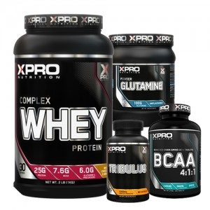 Стак 01 – Xpro WHEY Complex Protein – 1 kg + Xpro GLUTAMINE – 300 g + Xpro BCAA 4:1:1 – 100 таблетки + Xpro TRIBULUS – 90 капсули