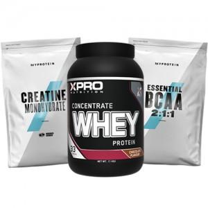 Стак 01 – Xpro WHEY Protein Concentrate – 1 kg + MYPROTEIN – Essential BCAA 2:1:1 – 250 g + MYPROTEIN – CREATINE Monohydrate – 250 g