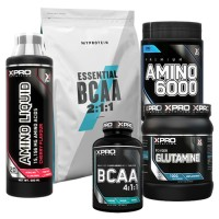 Стак 02 – MYPROTEIN – Essential BCAA 2:1:1 – 250 g + Xpro Premium AMINO 6000 – 200 таблетки + Xpro GLUTAMINE – 300 g + Xpro BCAA 4:1:1 – 100 таблетки + Xpro AMINO LIQUID – 500 ml