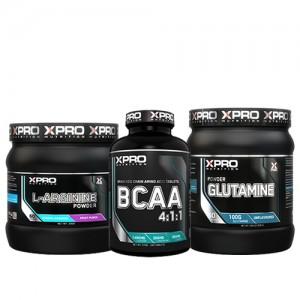 Стак 02 – Xpro L-ARGININE 300 g + Xpro BCAA 4:1:1 – 100 таблетки + Xpro GLUTAMINE – 300 g