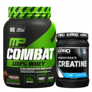 Стак 03 – MusclePharm® – Combat 100% WHEY™ – 907 g + Xpro CREATINE Monohydrate – 500 g