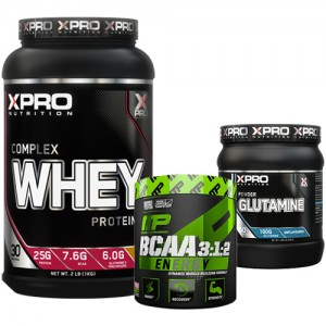 Стак 03 – Xpro WHEY Complex Protein – 1 kg + MusclePharm® – BCAA 3:1:2™ ENERGY – 270 g + Xpro GLUTAMINE – 300 g