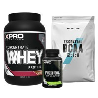 Стак 03 – Xpro WHEY Protein Concentrate – 1 kg + MYPROTEIN – Essential BCAA 2:1:1 –250 g + Xpro FISH OIL – 90 капсули