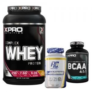 Стак 04 – Xpro WHEY Complex Protein – 1 kg + RCSS – L-ARGININE XS – 100 капсули + Xpro BCAA 4:1:1 – 100 таблетки