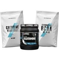 Стак 05 – MYPROTEIN – Essential BCAA 2:1:1 – 250 g + MYPROTEIN – CREATINE Monohydrate – 250 g + Xpro GLUTAMINE – 300 g