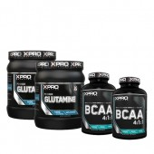 Стак 05 – Xpro GLUTAMINE – 2 x 300 g (600 g) + Xpro BCAA 4:1:1 – 2 x 100 таблетки (200 таблетки)