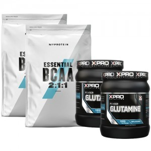 Стак 06 – MYPROTEIN – Essential BCAA 2:1:1 – 2 x 250 g (500 g) + Xpro GLUTAMINE – 2 x 300 g (600 g)