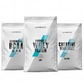 Стак 09 – MYPROTEIN – Impact Whey Protein – 1 kg + MYPROTEIN – Essential BCAA 2:1:1 – 250 g + MYPROTEIN – CREATINE Monohydrate – 250 g