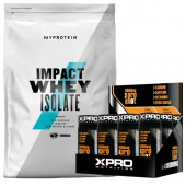 Стак – MYPROTEIN – Impact Whey ISOLATE – 1 kg + Xpro L-Carnitine Shot 6000 mg – 12 бр.