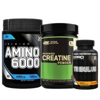 Стак 10 – Xpro Premium AMINO 6000 – 200 tabs + ON CREATINE – 317 g + Xpro TRIBULUS – 90 caps