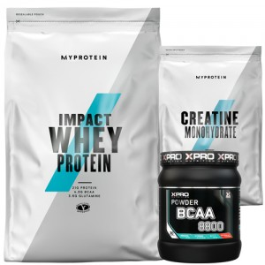 Стак – MYPROTEIN – Impact Whey Protein – 2.5 kg + MYPROTEIN – CREATINE Monohydrate – 250 g + Xpro BCAA 8800 – 429 g