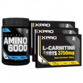 Стак 01 - Xpro Premium AMINO 6000 - 200 таблетки + Xpro L-Carnitine Shots 3750 mg / 21 бр. x 25 ml