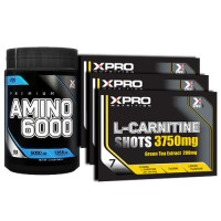 Стак 01 - Xpro Premium AMINO 6000 - 200 таблетки + Xpro L-Carnitine Shots 3750 mg / 21 бр. x 25 ml