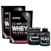 Стак 09 – Xpro WHEY Protein – 2 x 454 g (908 g) + Xpro GLUTAMINE – 300 g + Xpro BCAA 4:1:1 - 100 таблетки