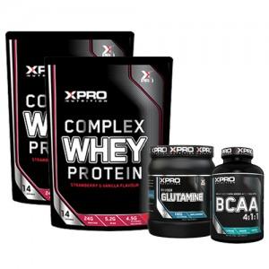 Стак 09 – Xpro WHEY Protein – 2 x 454 g (908 g) + Xpro GLUTAMINE – 300 g + Xpro BCAA 4:1:1 - 100 таблетки