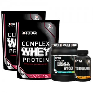 Стак 10 – Xpro WHEY Protein – 2 x 454 g (908 g) + Xpro BCAA 8100 – 429 g + Xpro TRIBULUS – 90 капсули