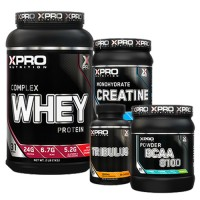 Стак 10 - Xpro WHEY Complex Protein - 1 kg + Xpro CREATINE Monohydrate - 500 g + Xpro BCAA 8100 - 429 g + Xpro TRIBULUS – 90 капсули