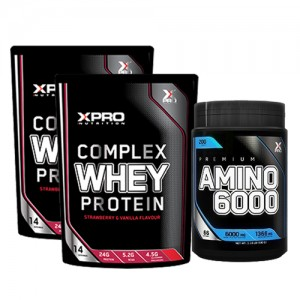 Стак 12 – Xpro WHEY Protein – 2 x 454 g (908 g) + Xpro Premium AMINO 6000 – 200 tabs