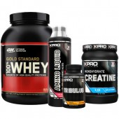 Стак 12 - ON 100% WHEY Gold Standard - 2,27 kg + Xpro CREATINE Monohydrate - 500 g + Xpro AMINO LIQUID - 500 ml + Xpro TRIBULUS – 90 капсули