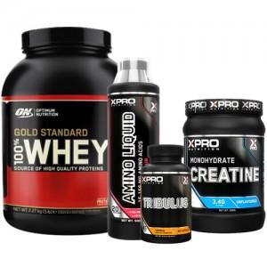 Стак 12 - ON 100% WHEY Gold Standard - 2,27 kg + Xpro CREATINE Monohydrate - 500 g + Xpro AMINO LIQUID - 500 ml + Xpro TRIBULUS – 90 капсули