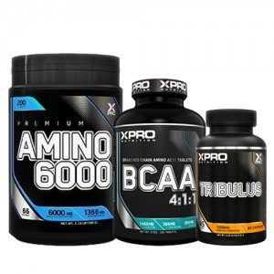 Стак 06 – Xpro Premium AMINO 6000 – 200 таблетки + Xpro BCAA 4:1:1 – 100 таблетки + Xpro TRIBULUS – 90 капсули