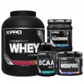 Стак 07 – Xpro WHEY Protein Concentrate – 2.28 kg + Xpro BCAA 4:1:1 – 100 таблетки + Xpro GLUTAMINE – 300 g + Xpro NOXPRO PRE-WORKOUT – 300 g