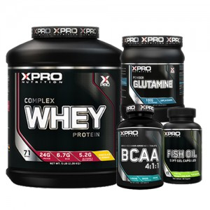 Стак 07 – Xpro WHEY Complex Protein - 2.28 kg + Xpro BCAA 4:1:1 – 100 таблетки + Xpro GLUTAMINE – 300 g + Xpro FISH OIL – 90 капсули