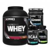 Стак 07 – Xpro WHEY Protein Concentrate - 2.28 kg + Xpro BCAA 4:1:1 – 100 таблетки + Xpro GLUTAMINE – 300 g + Xpro FISH OIL – 90 капсули