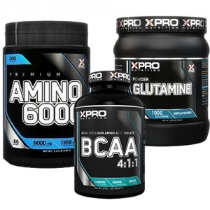 Стак 07 – Xpro Premium AMINO 6000 – 200 таблетки + Xpro BCAA 4:1:1 – 100 таблетки + Xpro GLUTAMINE – 300 g